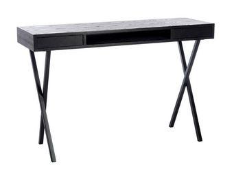 WHITE LABEL - bureau 2 tiroirs bois noir - prague - l 120 x l 40 - Bureau