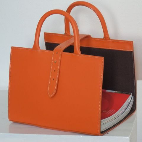 Porte-revues-MIDIPY-Range revues en cuir orange