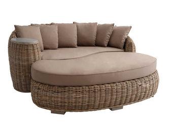 BARCLER - canapé demi-rond en poelet gris avec coussins 190x - Canapé De Jardin