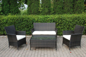Dream Garden - salon de jardin 4 places en aluminium et osier cho - Salon De Jardin