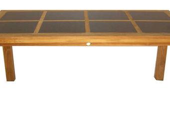 Medicis - table en teck massif avec inserts granit 170x85cm - Table De Jardin