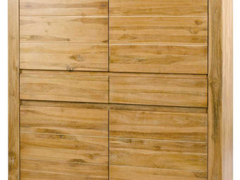 ZAGO - armoire 4 portes 2 tiroirs en teck masif sablé 130 - Armoire À Portes Battantes