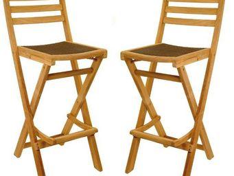 Medicis - chaises de bar en teck et r�sine tress�e (par 2) - Chaise Haute De Bar