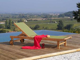 PROLOISIRS - lit de soleil caravelle vert à dossier réglable - Bain De Soleil