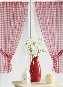HOMEMAISON.COM - paire de vitrage à carreaux rouges normands - Rideaux À Passants