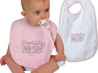 SIRETEX - SENSEI - bavoir bébé scratch brodé 3 souris roses - Bavoir