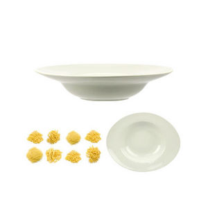 WHITE LABEL - assiette pasta ovale en céramique - Assiette À Spaghetti
