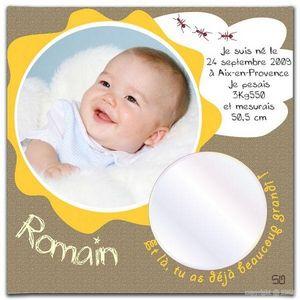 BABY SPHERE - toile photo naissance jungle 20x20cm - Cadre Photo Enfant