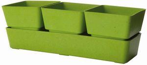 MARC VERDE - jardinière verte 3 pots en bambou et résine 31x10, - Jardinière