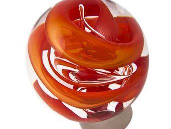 Les Verreries De Brehat - tubes de bulles sphérique rouge chili - Bouton De Porte