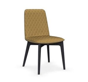 Calligaris - chaise sami en hêtre teinté graphite et tissu jaun - Chaise