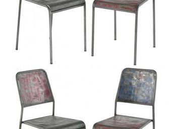 MEUBLES ZAGO - chaise en bidons recycl�s kl�o (lot de 4) - Chaise