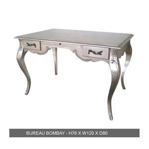 DECO PRIVE - bureau baroque 150 cm en bois argenté grand modèle - Bureau