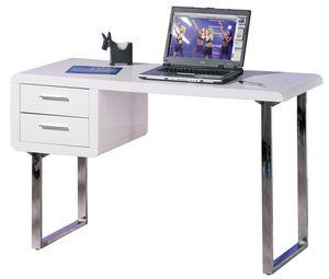 WHITE LABEL - bureau blanc laqué et métal chromé - Bureau