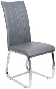 COMFORIUM - chaise de table simili cuir gris - Chaise