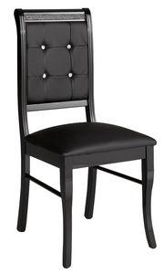 COMFORIUM - lot de 2 chaises ultra design noir avec strass - Chaise