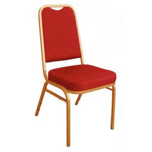 COMFORIUM - lot de 4 chaises de banquet rouge à dossier carré  - Chaise