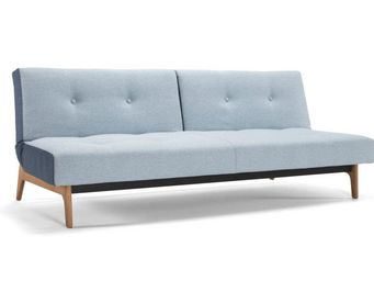 INNOVATION - canape design modi bleu ciel pieds bois convertibl - Banquette Clic Clac