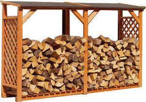 Ideanature - grand bûcher de coloris miel en bois 238x148x68cm - Abri À Bûches
