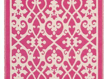FABHABITAT - tapis int�rieur ext�rieur venice cr�me et rose - Tapis Contemporain