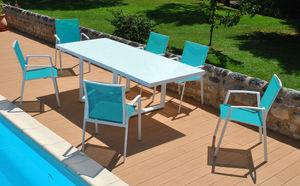 PROLOISIRS - salon cyclades 1 table + 6 fauteuils - Salle À Manger De Jardin