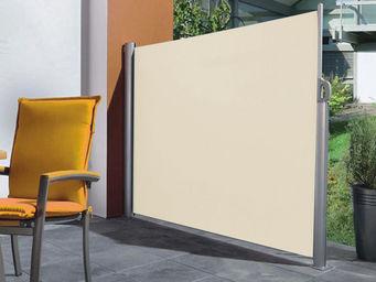 Imagin - paravent en polyester ecru et alu rétractable 300x - Paravent