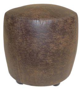 Cotton Wood - pouf tonneau cuir veilli - Pouf