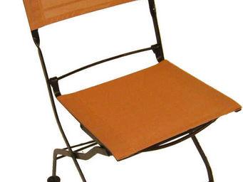 MEDICIS FRANCE - chaises pliantes orange en fer forgé et textilène - Chaise De Jardin