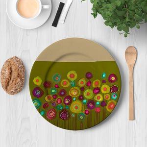 la Magie dans l'Image - assiette bouquet vert - Assiette De Présentation