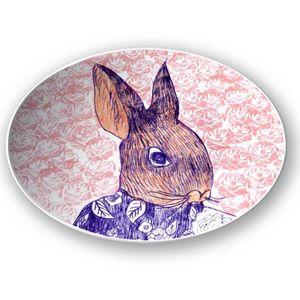 la Magie dans l'Image - assiette mon petit lapin fond rose - Assiette De Présentation