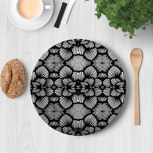 la Magie dans l'Image - assiette réseau floral noir - Assiette De Présentation