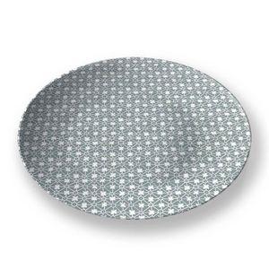 la Magie dans l'Image - assiette trèfle vert-de-gris blanc - Assiette De Présentation