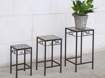 HEVEA - table gigogne en fer forgé et mosaique (lot de 3) - Tables Gigognes