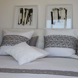MAISON D'ETE - dessus de lit nantes blanc et gris - Couvre Lit