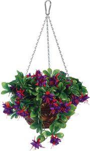 jardindeco - panier à suspendre fleurs artificielles avec chain - Fleur Artificielle