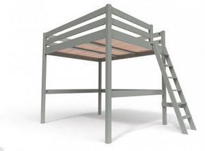 ABC MEUBLES - abc meubles - lit mezzanine sylvia avec échelle bois gris 160x200 - Autres Divers Mobilier Lit