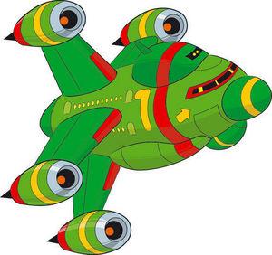 DECOLOOPIO - vaisseau vert - Sticker Décor Adhésif Enfant
