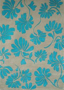 PASCALE GAUTHIER - fleurs turquoise - Tapis Contemporain