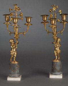 Bauermeister Antiquités - Expertise - paire de candélabres à trois lumières - Chandelier