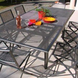 LE RÊVE CHEZ VOUS - salon de jardin - table alu + 6 chaises plateau ra - Salon De Jardin