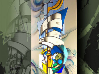 Atelier 1..2..3 vitrail - la vague - Vitrail