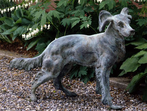 BARBARA ISRAEL GARDEN ANTIQUES - french bronze dog - Sculpture Animalière