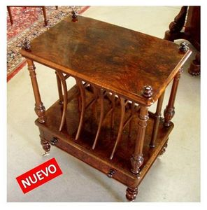 ANTICUARIUM - walnut canterbury table - Table D'appoint