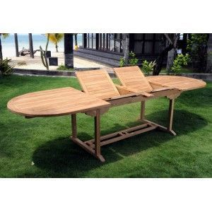 wood-en-stock - table en teck brut naturel xxl - Table De Jardin � Rallonges
