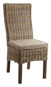 Aubry-Gaspard - chaise poelet gris et manguier teinté 48x62x105 - Chaise Paillée