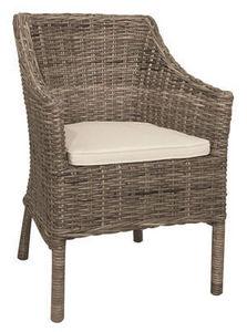 Aubry-Gaspard - fauteuil en poelet gris - Fauteuil De Terrasse