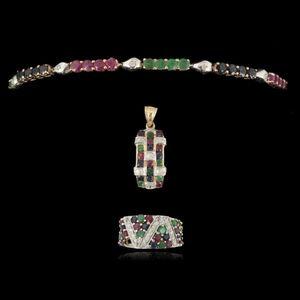 Expertissim - parure en or 14 kt, �meraudes, rubis et saphirs - Parure De Bijoux