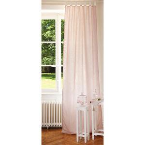 Maisons du monde - rideau double rose et blanc - Rideaux À Passants