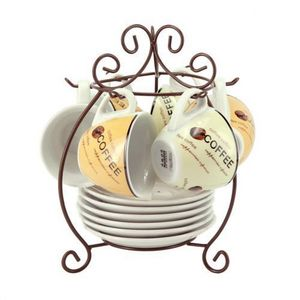 Maisons du monde - support 6 tasses et soucoupes th� coffee time - Porte Tasses