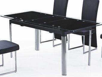 CLEAR SEAT - table en verre noir avec rallonge extensible carbo - Table À Rallonge